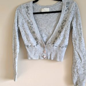 American Eagle Outfitters grey beaded cardigan